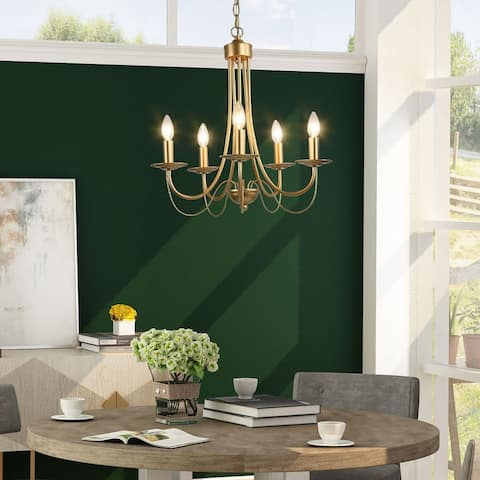 Mid-century Modern Gold 5-light Chandelier French Country Curved Arm for Dining Room