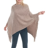QZUnique Womens Knit Shawl Pullover Batwing Loose Poncho Sweater Shawl