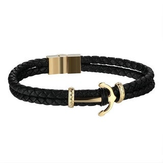 Anchor Ship Design Bracelet Stainless Steel Gold Finish Black 2 Row Leather Rope Band