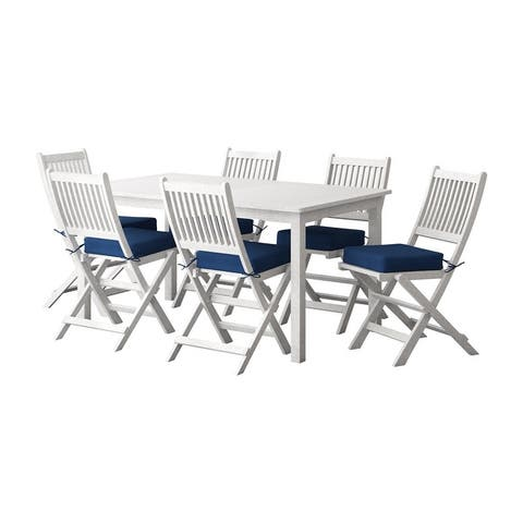CorLiving Miramar Natural Hardwood Outdoor Dining Set, 7pc