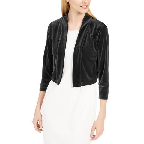Calvin Klein Women's Jacket Black Size Large L Velvet Shrug Open Front