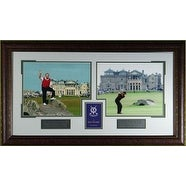 Tiger Woods unsigned 2005 British Open Old Course 2 Photo Leather Framed 17x31 w/Jack Nicklaus w/ Scorecard