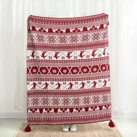Glitzhome 50 x 60 Knitted Acrylic Throw Blanket with Tassels