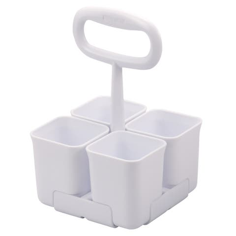 Stanley Removable 4 Cup Office Supplies Organizer Caddy for Scissors, Pens, and Desk Essentials, White