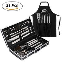Kaluns® BBQ 21 Piece Utensil Grill Set, Heavy Duty Stainless Steel Tools, Professional Grilling Accessories for the Expert