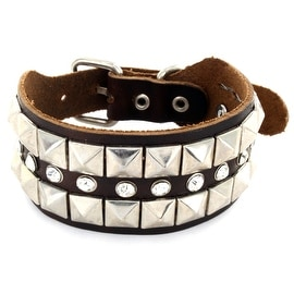 Brown Leather Bracelet with Multi Row Pyramid and CZ Studs (30 mm) - 7 in
