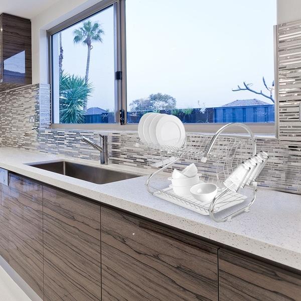 Silvertone Aluminum Multifunctional S-shaped Dual-layer Bowls Collection Shelf Dish