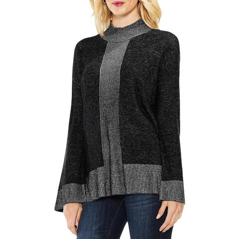 Vince Camuto Womens Mock Turtleneck Sweater Colorblock Ribbed