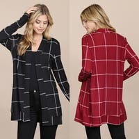 RIAH FASHION Women's Long Sleeved Open Front Plaid Cardigan