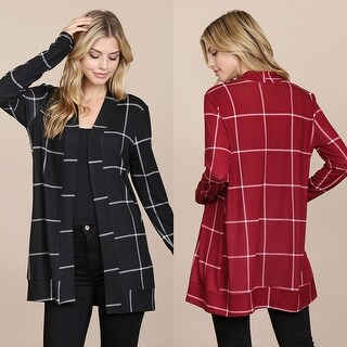 RIAH FASHION'S Long Sleeved Open Front Plaid Cardigan