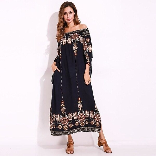 1cfdb4a54c421 Boho Style Off Shoulder Women Long Shift Dress Vintage Floral Beach Summer  Dress Leisure Hot Shirt Maxi Dress Plus Size 5Xl