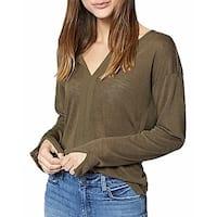 Sanctuary Green Womens Size Small S Split Neck Long Sleeve Blouse