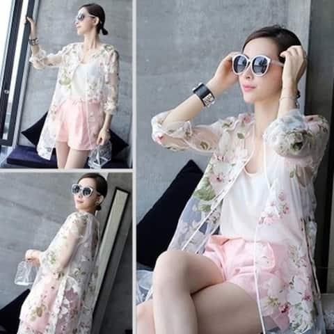 Autumn Spring Summer Women's Organza Print Sun Protection Clothing Long Ladies Shirt Long-Sleeve Jacket Female Coat