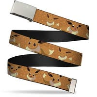 Blank Chrome Buckle Eevee Expression Poses Tans Webbing Web Belt