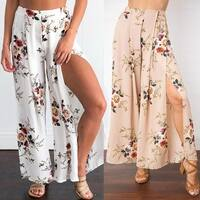 Boho High Waist Floral Print Wide Leg Loose Split Beach Culottes Palazzo Pants