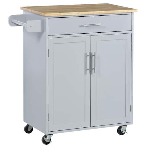HOMCOM Wooden Kitchen Large Storage Island on 360° Swivel Wheels Cart with Drawer, Interior Cabinet & Towel Rack