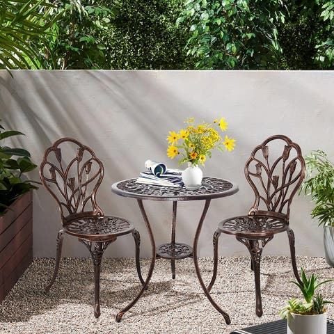 3-Piece Aluminum Outdoor Patio Tulip Sets With Table