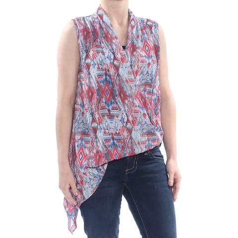KAREN KANE Womens Red Free Spirit Asymmetric Hem Printed Sleeveless V Neck Top Size: XS