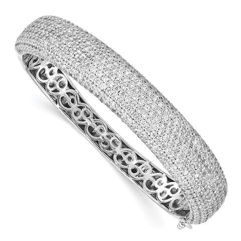 "925 Sterling Silver Pav Rhodium-plated 568 Stone Cubic Zirconia Hinged Bangle Bracelet, 6.5"""