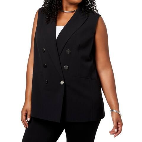 Nine West Women's Vest Black Size 18W Plus Peak-Lapel Double-Breasted