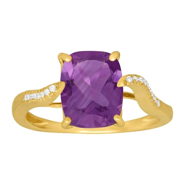 2 7/8 ct Natural Amethyst Ring with Diamonds in 14K Gold - Purple