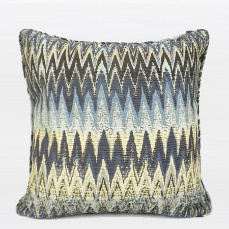 "G Home Collection Luxury Blue Big Chevron Pattern Pillow 18""X18"""