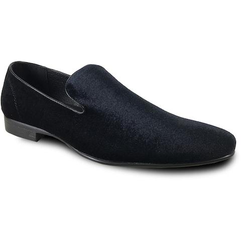 BRAVO Men Dress Shoe KLEIN-7 Loafer Shoe Black Velvet with Leather Lining