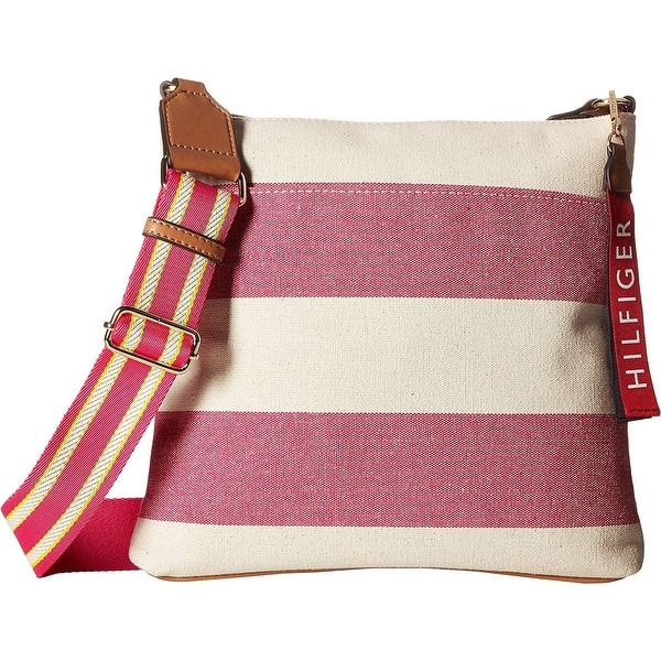 1e2e28ad637 Shop Tommy Hilfiger Classic Woven Rugby Mini Crossbody Bag  Raspberry/Natural - Free Shipping Today - Overstock - 25994262