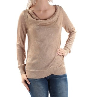 Womens Gold Long Sleeve Cowl Neck Casual Faux Wrap Top Size XS