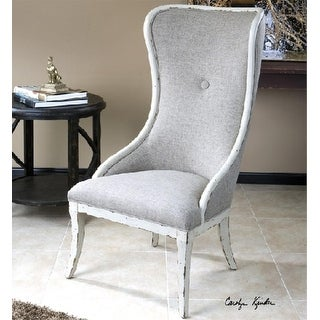 """47.5"""" Distressed White Poplar Linen Wing Chair"""