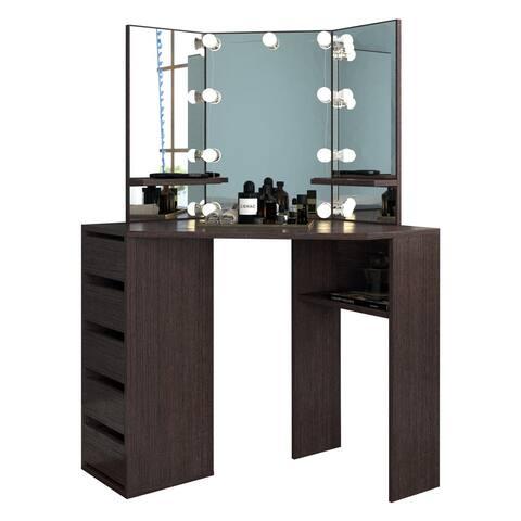 Victoria Corner Makeup Vanity Desk with 5 Drawers