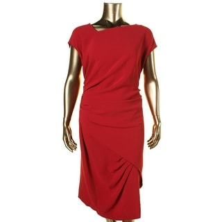 Marina Womens Plus Devon Crepe Pleated Cocktail Dress - 22