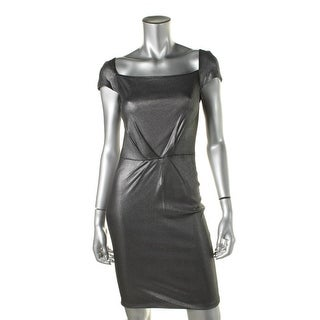 Catherine Malandrino Womens Metallic Square Neck Party Dress - S