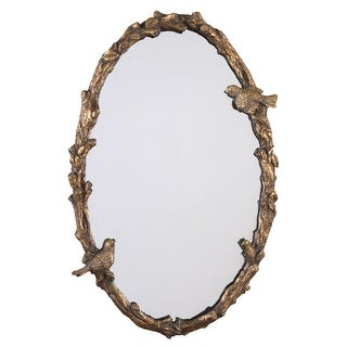 Uttermost 13575 P Paza Oval Rustic Country Bird Frame Wall Mirror - Distressed, Antiqued Gold Leaf With A Gray Glaze.