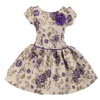 Kiki Kids Girls Purple Flower Printed Brocade Short Sleeve Dress