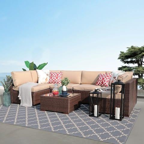 7- Piece Outdoor Wicker Cushioned Sofa Set