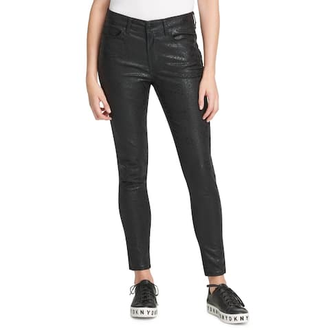 DKNY Womens Everywhere Skinny Jeans Coated Python Mid-Rise - Black