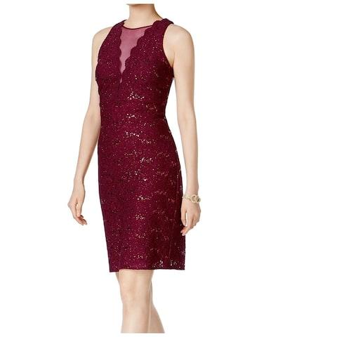 Nightway Women's Dress Maroon Red Size 10 Sheath Lace Sequin Shimmer