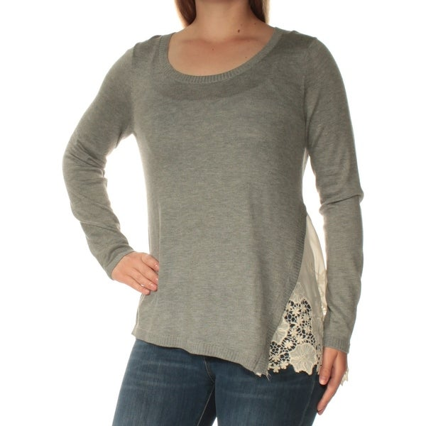 289b477c8c Shop KENSIE Womens Gray Lace Long Sleeve Scoop Neck Top Size  XL - Free  Shipping On Orders Over  45 - Overstock.com - 24061278