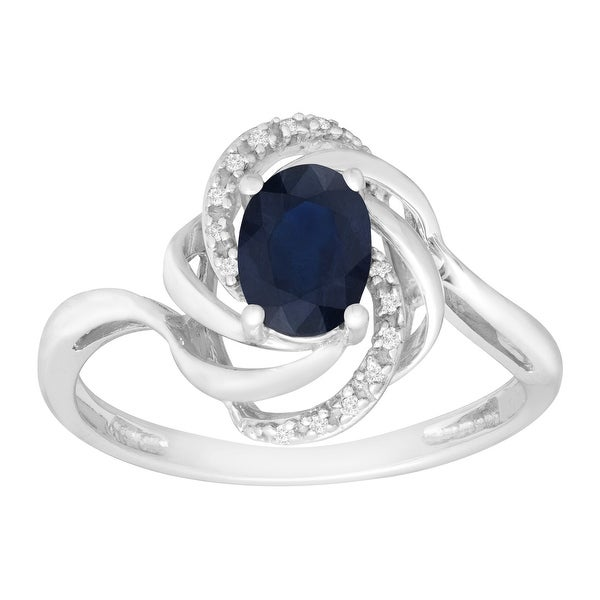 1 ct Natural Dark Sapphire Ring with Diamonds in 10K White Gold - Blue
