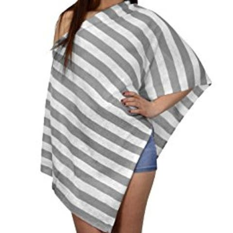 Womens Summer Fashion Light Weight Striped Poncho Shrug Cover Up - one size