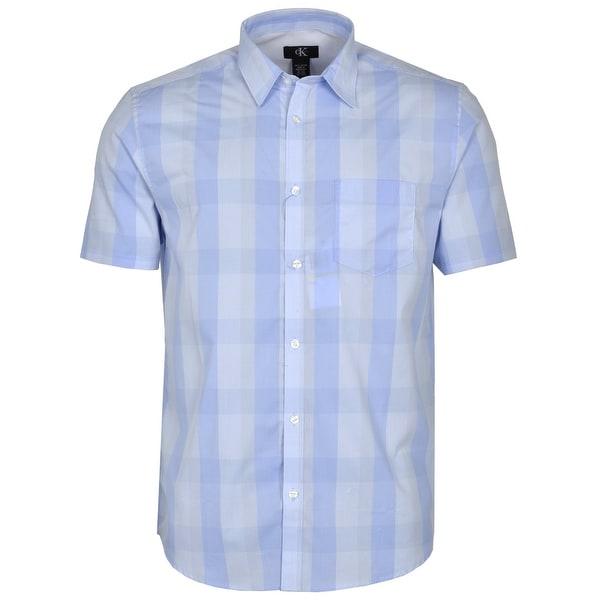Calvin Klein Checkered Short Sleeve Shirt Tidal Wave Blue