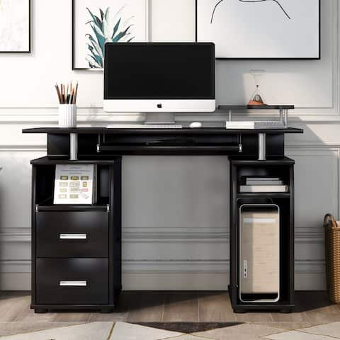 Moda Computer Desk with Pull-Out Keyboard Tray and Drawers