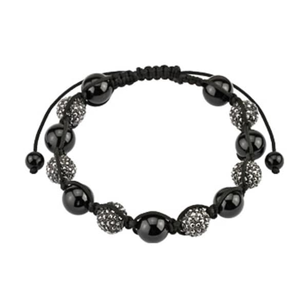 Bead Bracelet with Micro Black Metallic Crystals Cluster Beads (10 mm) - 7.5 in
