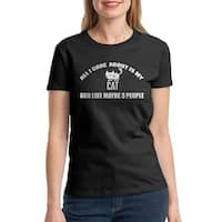 Only Care About Cats Graphic Women's Black T-shirt