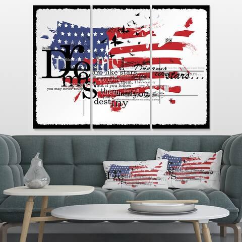 Designart 'Vintage Fashion USA Flag' Map Canvas Art Print - 36x28 - 3 Panels