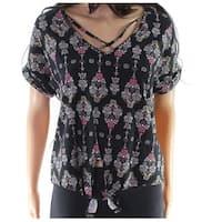 Pink Rose Black Size Large L Junior Floral Print Tie Front Blouse
