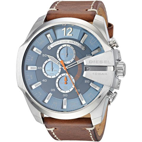 Diesel Men's DZ4458 Mega Chief Brown Leather with Blue Dial - 1 Size