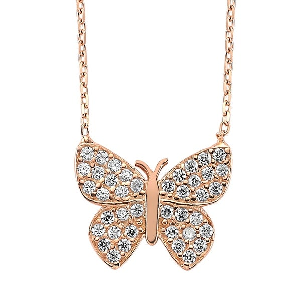 Amorium Butterfly Necklace in 18K Rose Gold Plated Sterling Silver