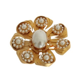 Dolce & Gabbana White Pearl Floral Hair Clip - One size